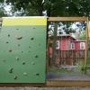 Construir un columpio combinación, teatro y muro de escalada