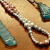 Pulsera de perlas magnéticas y de la playa de cristal colgante