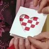 Tejido tarjeta de corazón de San Valentín
