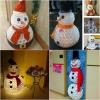 Creativo Craft Invierno: Muñeco de nieve DIY Hecho de tazas plásticas