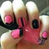 Cómo crear Rosa lindo y Negro Nails