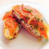 Cómo hacer fácil Desayunos: Sandwich con salmón ahumado y huevos