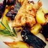 Cómo hacer pollo asado muslos y patatas