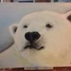 Cómo pintar oso polar con los dedos.