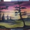 Cómo pintar la puesta del sol en el bosque con los dedos
