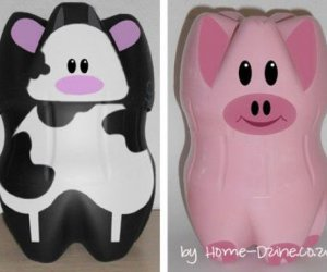 Adorable DIY Piggy Banks de botellas de plástico